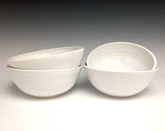 White On Ceramic Porcelain: Ice Cream Bowl, single serving bowl, candy dish, hand-thrown.
