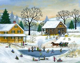 Winter in Fly Creek - Original painting by JL. Munro