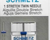 Schmetz stretch twin, double sewing machine needle, single pack, size 4,0/75