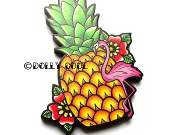 Pineapple Flamingo Brooch by Dolly Cool 40s 50s Reproduction Vintage Style Wooden Novelty Pin