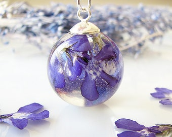 Resin Jewelry Real Flower Necklace Resin Necklace Pressed Flower Jewelry Real Flower Jewelry Blue Lobelia