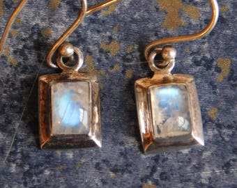 Vintage Moonstone and Sterling Silver Dangle Earrings - Wire Earrings for Pierced Ears - Small Rectangle Cabochons - White w/ Blue Fire