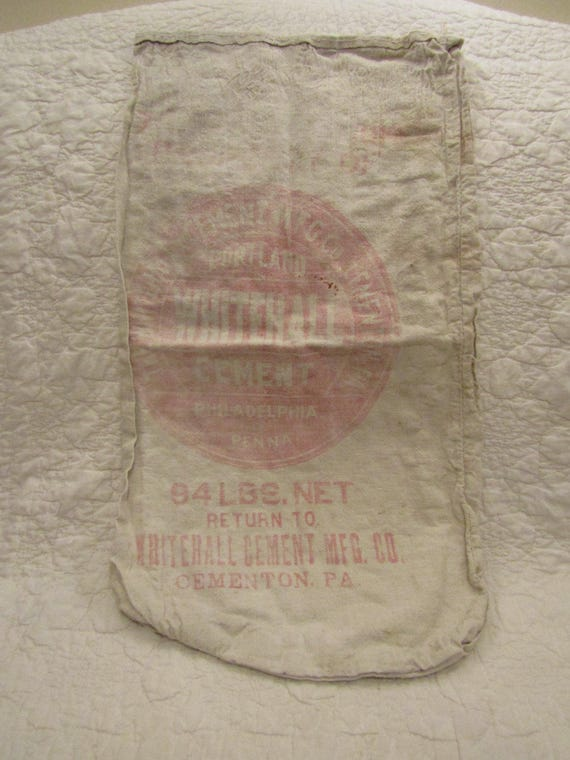 94 Lbs Bag Of Cement : Vintage muslin whitehall cement bag