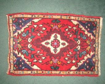 Vintage Hand Woven Wool Small 16 1/2x25 Area Rug in Rich Jewel Tones