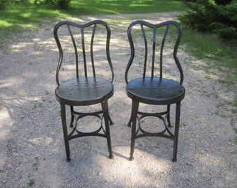 Vintage 1920s/30s Art Deco Industrial PAIR of Fabulous Black Metal Chairs