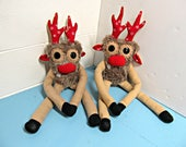 Plush Rudolph - Plush Reindeer - Rudolph the Red Nose Reindeer - Christmas Plush Toy - Cute Plush Deer - Handmade Holiday Plush - Weird