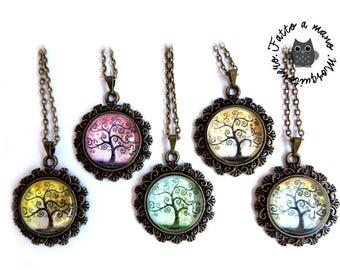Tree of life necklace bronze pendant, vintage, Cabochon, family tree, family necklace gift