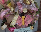 WELCOME BUTTERFLY Spring wreath with sign and flowers- Completely adorable and Fun