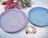 Small Pottery Dish, Ceramic Spoon Rest, Tea Bag Holder, Dipping Bowl, Choose JOY or BE HAPPY, Choice of Color
