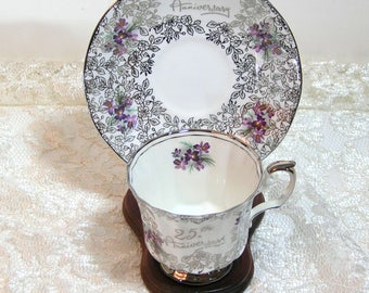 25th Anniversary Teacup and Saucer, Elizabethan English Bone China with Violets