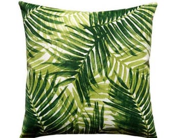 Palm Leaf Outdoor Pillow, Tommy Bahama Pillow, Green Tropical Outdoor Pillow, Green Palm Fronds Tropical Outdoor Cushion - Free Ship