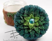 Woodland Floral Stash Jar Green Ombre- ready to ship  - air tight, water proof - 4 oz.