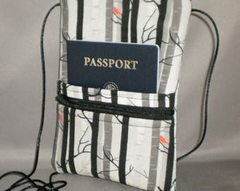 Smart Phone Purse - Passport Purse - Sling Bag - Hipster - Wallet on a String - Birch Trees - Red Bird