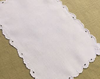 Vintage White Linen Doily with Hand Embroidery