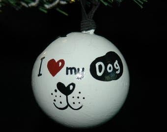 Love My Dog Ornament - Hand Painted- Personalized - Solid Wood