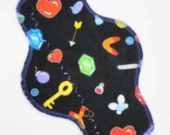 "10"" Moderate Cloth Pad, Minky Cloth Menstrual Pad, Gamer Girl Minky, Windpro Fleece, MotherMoonPads Day Pad, Light Incontinence Pad"