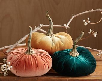 LARGE Scented Velvet Pumpkins, SET of 3: Harvest Orange, Mustard, Hunter Green