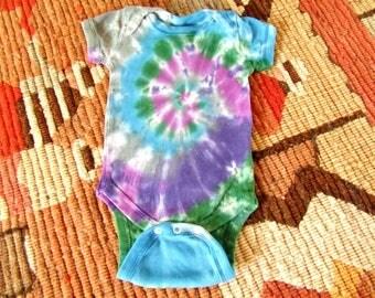 Newborn Tie Dye Baby Onesie - Mystic Swirl - - Ready to Ship