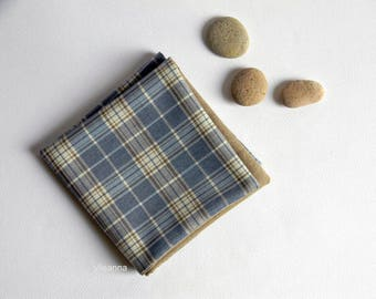 Pocket square - Double sided pocket square - Reversible Handkerchief -  Made in Italy -  Light blue. Sand beige. Plaid.