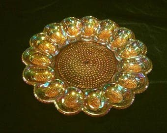 Vintage Indiana Iridescent Amber Carnival Glass Thousand Eyes Hobnail Egg Dish
