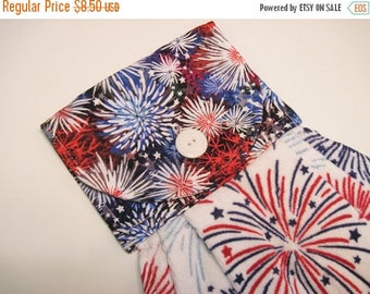 Summer Sale Hanging Kitchen  Towel  Oven door  towel  patriotic red white and blue fireworks Quiltsy handmade