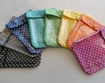 Polka Dot Ouch Pouch Your Choice Color & Size Clear Front Purse Insert Work Bag Organizer First Aid Make Up Baby Wedding Office Gifts