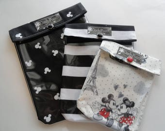 Mickey Mouse Ouch Pouch 3 Pack (Large Medium & Small) Clear Toiletries Organizers Diaper Bag Backpack Purse Inserts Disney Fish Extenders