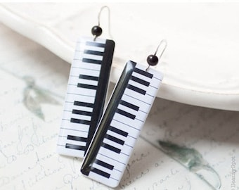 Piano earrings - Piano keys earrings - Music jewelry - Black white earrings  (E055)
