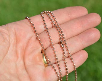 """10  Rose Gold, Stainless Steel, 29"""" Ball Necklace Chains 2.4mm C987"""
