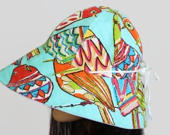 Reversible Cottage Hat wide brim sun hat in with bold blue birds plus adjustable fit or chinstrap great for boating