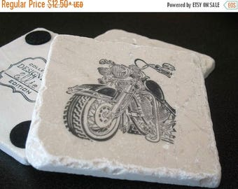 XMASINJULYSale Motorcycle Drink Coasters - Masculine Home Decor - Father's Day Gift - Man Cave Drink Stone Drink Holders