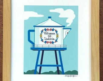 Coffee Pot Water Tower, Lindstrom, MN, art print