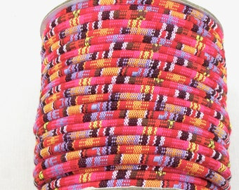 4mm tribal fabric cord in pink, orange, lavender, yellow, brown and white. 5 feet