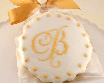 Monogrammed Cookies for Wedding, Anniversary, Birthday Party - 36 Decorated Sugar Cookie Favors