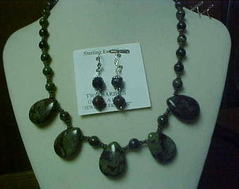 Hand made Bloodstone Necklace set- matching ear rings- Free Ship