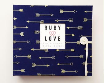 BABY BOOK | Navy & Gold Arrows Album | Ruby Love Modern Baby Memory Book