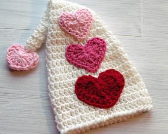 Crochet Valentine Heart Baby Hat, Baby Valentines Hat, Newborn Valentines Hat, Valentines Day Baby Hat