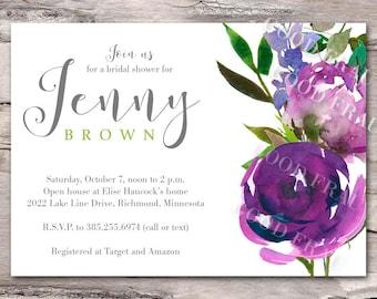 Bridal shower invitation, purple and blue floral baby shower invitation, printable digital DIY wedding, lilac, lavender, violet