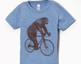 SUMMER SALE Sloth on a Bicycle - Kids T Shirt, Children Tee, Tri Blend Tee, Handmade graphic tee, sizes 2-12