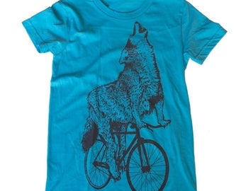 SUMMER SALE Wolf on a bicycle - Womens T Shirt, Ladies Tee, Tri Blend Tee, Handmade graphic tee, sizes s-xL
