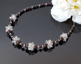 Garnet Necklace Beaded Crystal Necklace January Birthstone Necklace Cluster Birthday Gift Women Christmas Gift Wife Beauty Gift for mom