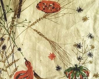 Vintage Jeanne Miller Autumn Handkerchief with Gourds, Cattails, and Mums