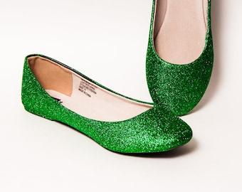 Glitter - Kelly Green Ballet Flats Slippers Sparkle Custom Shoes