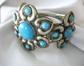 Ornate Metal Cuff Bracelet, Turquoise Blue, Silver metal, Flower, Large Ornamentation, Plated Brass, Tribal, Oversized, Chunky Bracelet