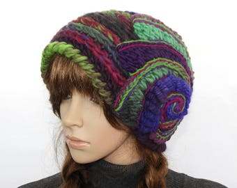 Crochet Beanie, Green Purple Crochet Beanie, Hat, Super Chunky women's Multi Colour winter hat, beanie with Freeform Crochet Spiral Motif
