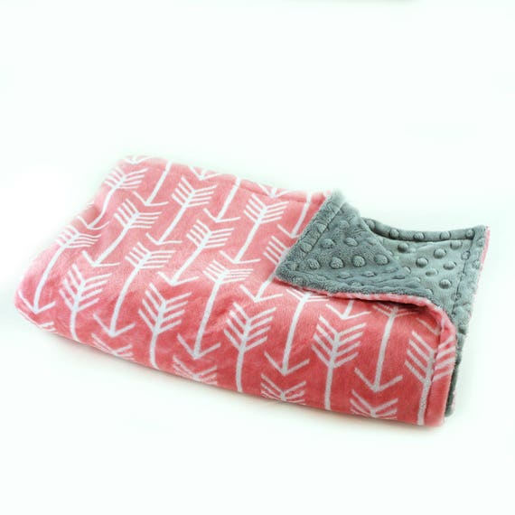 Coral Arrow Blanket / Minky Baby Blanket Girl, Gray Coral Arrow Blanket // 29 x 35 in Ready to Ship