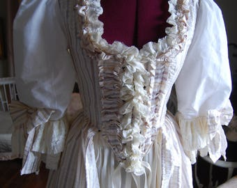 Silk and cotton peasant Victorian Marie Antoinette costume dress with bodice skirt petticoat