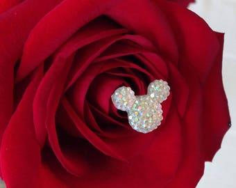 Disney Wedding FREE SHIP 12 Hidden Mickeys Bouquet Flower Picks Corsage Floral Pins Flower Posts Clear AB Bridal Flowers