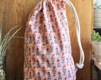 Drawstring Pouch - Reusable Gift Bag - Shoe Bag - Lingerie Bag - Bird Cage - Coral Pink Navy