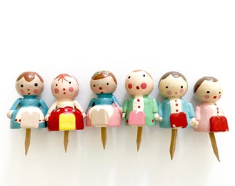 LAST SET! Vintage Wooden Candle Holders Girls and Boys Birthday Cake Cupcake Toppers Sevi Italy